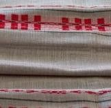 gray (linen), red and black (pattern)